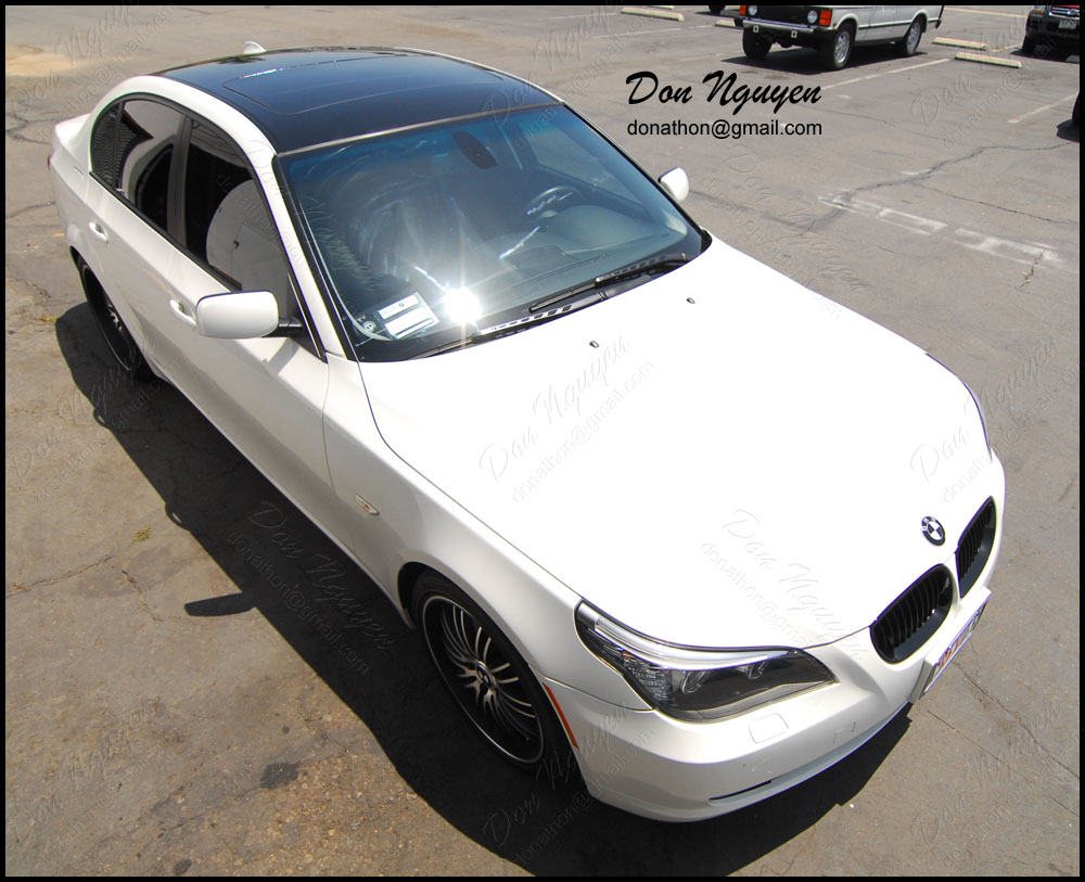 Don Nguyen Gloss Black Vinyl Roof Wrap White E60 530i