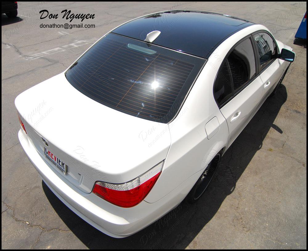 Don Nguyen Gloss Black Vinyl Roof Wrap White E60 530i